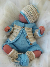 Knitting Pattern 49 TO KNIT Baby Boys or Reborn Dolls Cardigan Hat Booties