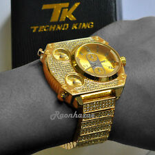 ICED OUT RAPPER TECHNO KING MULTI TIME ZONE 14K YELLOW PLATED WATCH #1003G