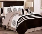 7 Pc luxury King Queen Bed In a Bag Comforter black white beige medallion design