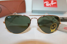 Ray Ban RB 3026 L2846 62mm Arista Gold/Green G-15 Unisex Aviator Sunglasses