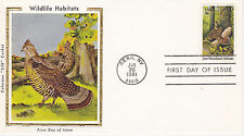 COLORANO SILK CACHET FIRST DAY COVER FDC - 1981 WILDLIFE HABITATS WOODLANDS