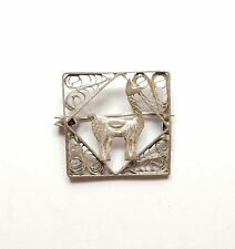 Vintage 925 Sterling Silver SQUARE FILIGREE CAMEL PIN BROOCH 2g