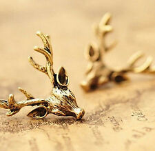 FD2584 Retro Vintage Copper Deer Antler X'mas Holiday Earring Stud Jewelry  ♫
