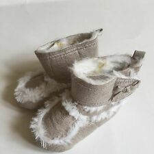 Old Navy Infant Baby Girl 3-6 Month Size 2 Sparkle Cream Silver Fur Boots VGUC