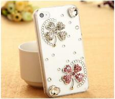 NEW BLING CLEAR DESIGNER DELUX DIAMANTE FLOWER SPARKLE CASE COVER 4 IPHONE 4 4S