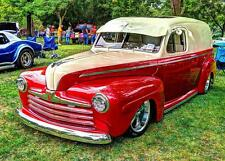 Old Photo.  Red/Cream 1946 Ford Sedan Delivery Automobile