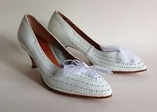 GANDER White Leather 1950s Vintage Court Shoes UK 5 EU 38 Rockabilly Mad Men
