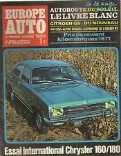 EUROPE AUTO 1971 47 CHRYSLER 160 180 CITROEN DS DSpec ALPINE A110 1300 G 1600 S