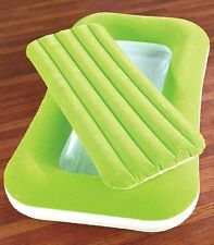 Green Inflatable Kiddie Bed Air Mattress For Kid's Sleepover Camping Ages 3 & Up