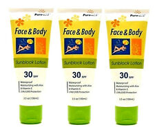 3 FACE & BODY SUNSCREEN LOTION SPF 30 WATER RESISTANT HYPO-ALLERGENIC 3.5 Oz