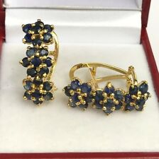14k Solid Yellow Gold Three Flowers Omega Back Earrings, Natural Sapphire 5TCW