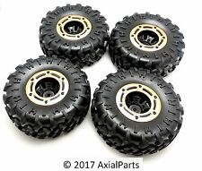 "(4) HSP 1/10 Scale Rock Crawler 2.2"" Tires & Beadlock Wheels w/ Metal Rings 12mm"