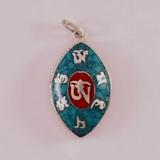 Delicate Tibetan Turquoise Red Coral Inlay Om Mani Oval Ghau Prayer Box Pendant
