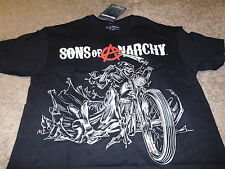Sons of Anarchy Mens SOA Skull Black Bike Biker Grim Reaper T-Shirt Size Large