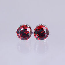 18K White Gold GP 6mm Swarovski Crystal Zircon CZ Stud Earrings Elegant Wedding