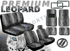 Snow Leopard 17pc Car Seat Covers Animal Print Bench Floor Mats License CS1