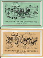 Vintage Swap/Playing Cards - 2 SINGLE-  SHAMROCK OIL ADVERTS - HORSES /BUFFALO
