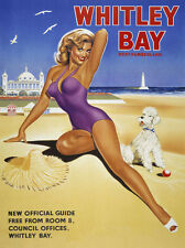 Whitley Bay Beach Pin Up Model Retro Vintage Metal Sign