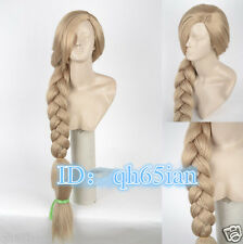 2015 Women Disney Tangled Rapunzel Long Blonde Weaving Braid Cosplay Party Wigs