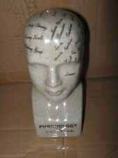 """Phrenology Head 6""""Tall Gray Crackled  Porceaine Black Printing  Collectible"""