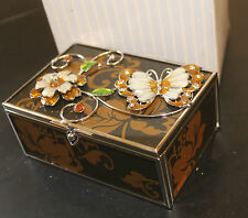 Beautiful Butterly & Flower High Gloss Glass & Silver Jewellery Trinket Box Gift