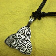 Triquetra Celtic IRISH Trinity Knot Pewter Pendant  with Cotton Necklace #136