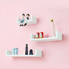 Onlineshoppee Wooden Handicraft Wall Decor Wall Shelf Pack of 3 Color-White