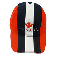 CANADA BLACK RED WHITE WITH MAPLE LEAF EMBOSSED HAT CAP ..  NEW