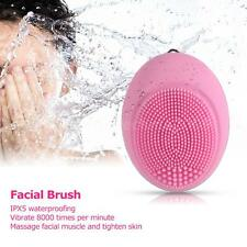 Facial Brush Cleansing Massage Brush Silicone Vibration Deep Cleaning Brush E6Z7