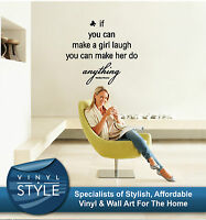YOU CAN MAKE A GIRL LAUGH MARILYN MONROE QUOTE STICKER WALL ART VARIOUS COLOURS
