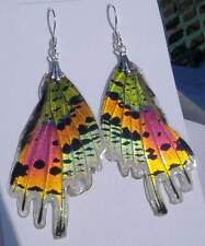 Real Butterfly Wing & Sterling Silver Earrings Brilliant Metallic Sunset