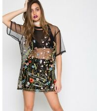 Jaded London Floral Mesh Embroidered Tshirt Dress Topshop