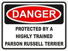 Dog Breed PARSON RUSSELL TERRIER Danger Sticker Pet for Bumper Locker Car Door