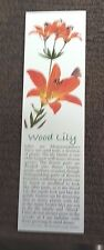 "Book Marker, Wood Lily, Wildlife Collectibles, 7"" x 2"", Beautiful Colors"