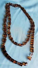 vintage 1930s gatsby deco glass faux tortoiseshell beads long beaded necklace