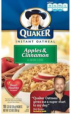 Quaker Instant Oatmeal Apple & Cinnamon 10-Count Box, 12.3 oz (Pack of 3)