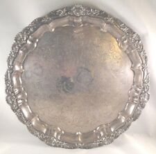 "POOLE Silver Plated Serving Tray 14"" Heavy Footed EPCA 3210 Authentic Repro VTG"