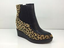 LADIES WOMENS ANKLE HIGH LEOPARD STYLE WEDGE HEEL PLATFORM BOOTS SIZE 6