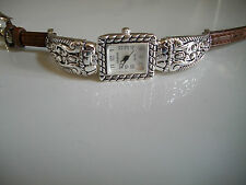 Western style designer silver finish with brown leather band watch