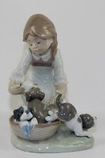 """LLADRO """"JOY IN A BASKET"""" #5595 FIGURE ~ GIRL W/ PUPPIES IN A BASKET ~ PERFECT ~"""