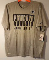Nike Dri-Fit Dallas Cowboys Legend Just Do It T-Shirt Gray Size Men's XL NWT