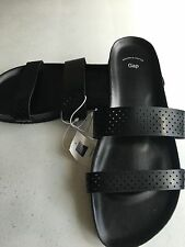 New Gap Women's Sandals Slide On Double Two Strap Black Slide Size 7 Flats