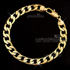 9K 9CT PLAIN GOLD FILLED 8MM CURB RING LINK CHAIN MEN WOMEN BANGLE BRACELET GIFT