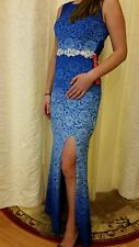 Prom Dress Gown Party Evening Size 5 City Triangles 75010 Blue Lace Stretchy NEW