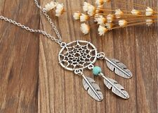"""A Dream catcher Feather Tassel Turquoise Bead Charm Long 30"""" Chain Necklace"""