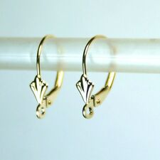 Solid 14K yellow gold open ring Fleur-De-Liz leverback earrings finding