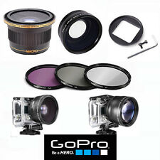FISHEYE LENS X38 + TELEPHOTO ZOOM LENS + FILTER KIT FOR GOPRO HERO4 SILVER BLACK