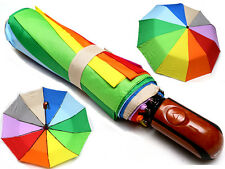 Automatic Umbrella beautiful rainbow STRONG QUALITY large size folding women's