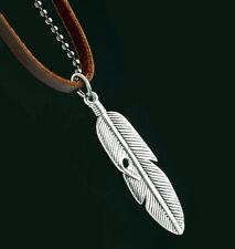 Kette 52 cm Leder Echtleder und Kugelkette mit Feder Anhänger