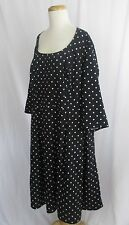 eShakti Polka Dot Dress Black and White Scoop Neck Fit and Flair Lined 1X 18W